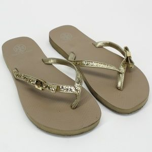 Tory Burch Carey Gold Glitter Bow Sandals